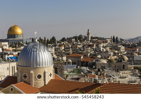 Old City of Jerusalem with dome of the Rock and Church of the Holy Family, Israel