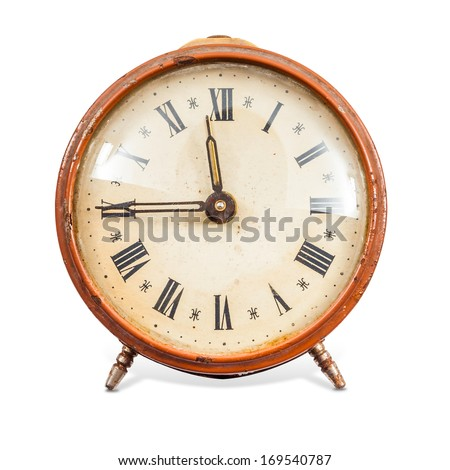 Old Clock Isolated on white background and clipping path