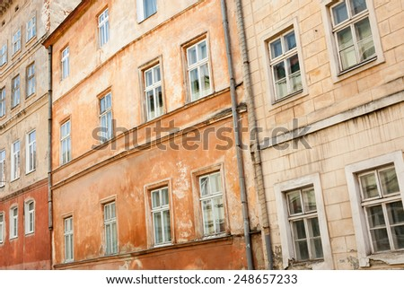 Old colorful buildings in historic part of Lviv, Ukraine