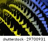 Old colourful part of the hydro turbine - stock photo