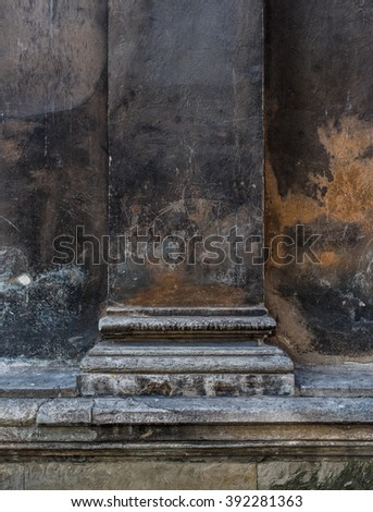 Old column of Roman Catholic Church in Rome close up