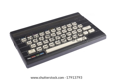 old computer ZX Spectrum in a white background