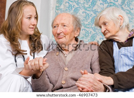 Old couple at the young doctor