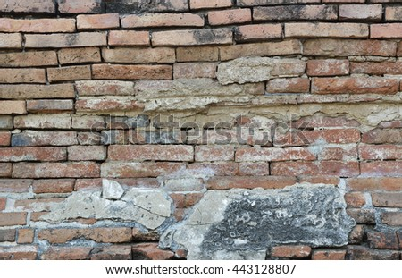 Old damaged brick wall texture for background