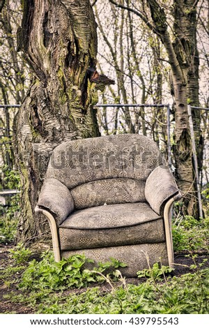 old dirty armchair in front of a tree