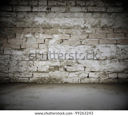 old dirty room with brick wall, vintage background
