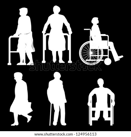Old disabled people wheelchair flat icon. Medical sign. Isolated on white