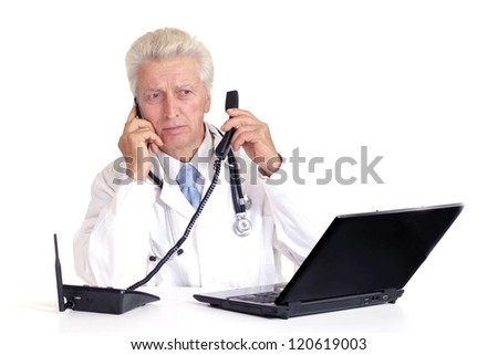 old doctor and laptop on a white background