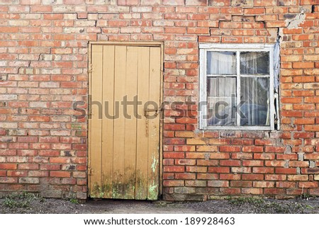 old door and window of old house background