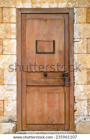 Old door with blank vintage door-plate