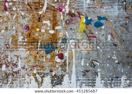 old dried paint spatter and drips on metal background texture