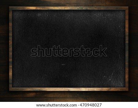 Old empty blackboard template with frame for school design