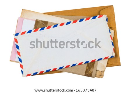 Old envelopes isolated on white background