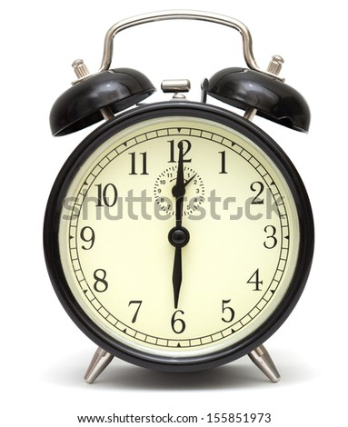 old fashioned alarm clock, black, isolated on white