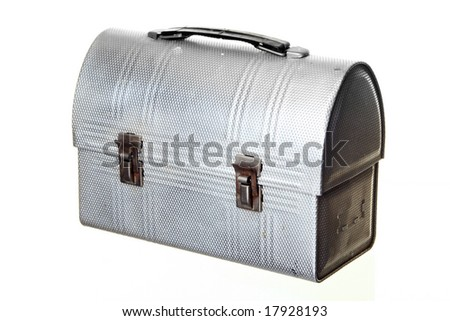Old-fashioned Lunch Box, isolated against white ground