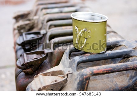 Old-fashioned military style jerrycan