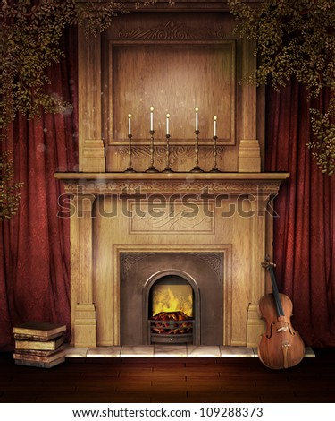 Old Fireplace With Red Curtains, Books, And A Violin