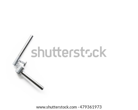 old garlic grater isolated on white background seen from above