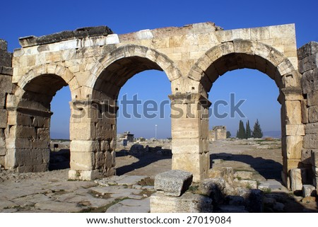 Old gate on ruins of hierapolis near Pamukkale