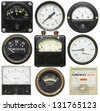 Old gauges isolated on white background - stock photo