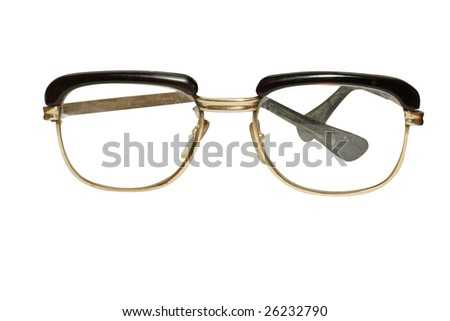 Old glasses under the white background