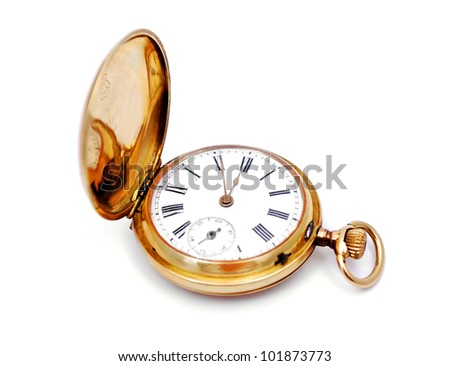 old gold pocket watch on a white background