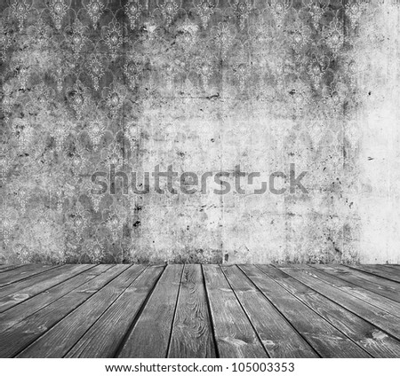 old grunge room, grey retro background