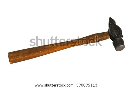 Old hammer isolated on white