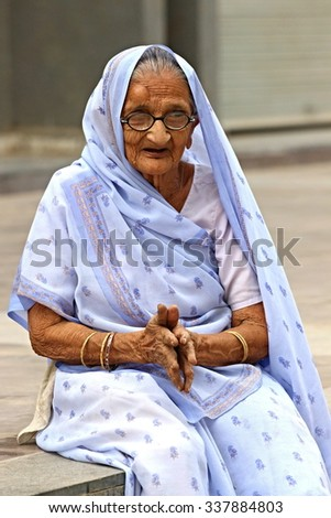Old Indian woman. Photographing October 25, 2015 in Ahmedabad, India