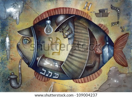 Old jewish man in the belly of the fish