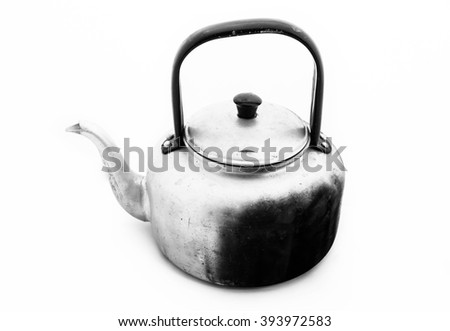 Old kettle tea on white background