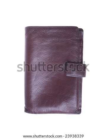 old leather wallet isolated on white