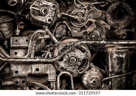 old machine steel,vintage spare part, industry concept, with texture filter