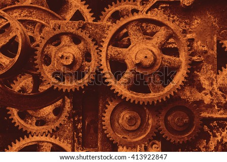 Old machine with cogs and gears,  Retro styled
