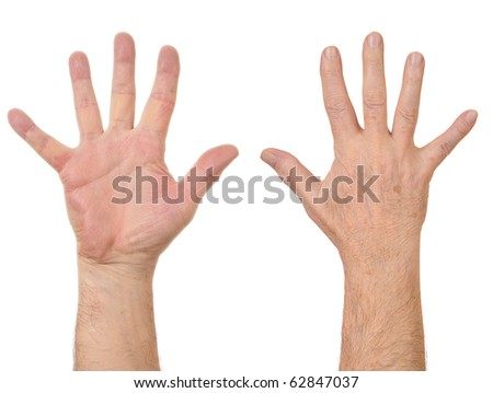 Old man hands counting number five