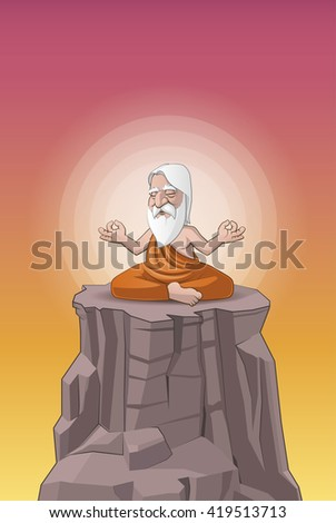 Old man meditating on the hill