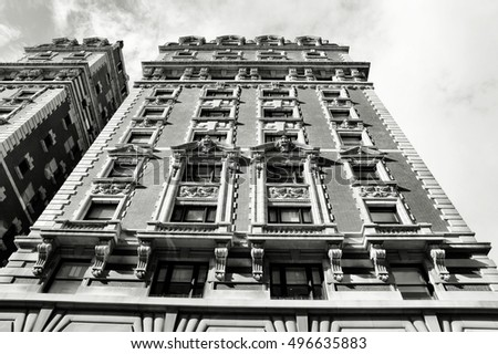 Old Manhattan architecture. Black and white style.