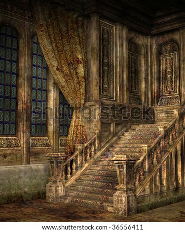 Run Down Abandoned Old Mansion Stock Illustration 6016015