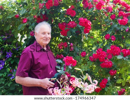 old men with flowers in garden