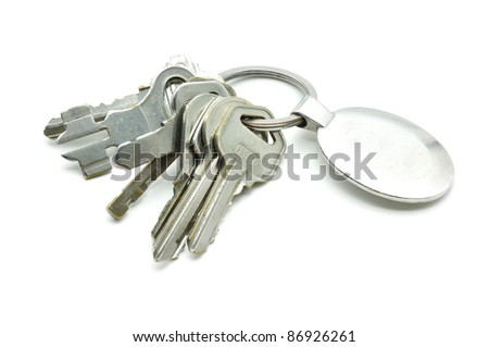 old metal keys isolated on white background