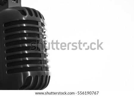 Old microphone and white background for music
