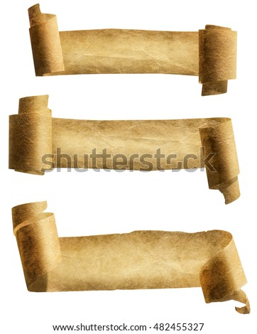 Old Paper Scroll Ribbon, Parchment Roll Icon, Curled Ancient Banners Set, Isolated over White