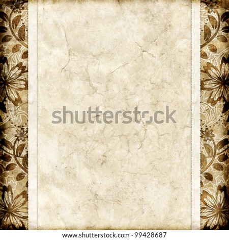 Old paper with floral pattern