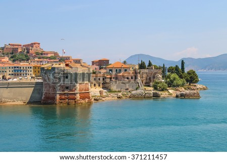 Old part of Portoferraio from the sea, Elba island, Tuscany, Italy