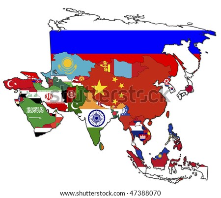 old political map of asia with flags