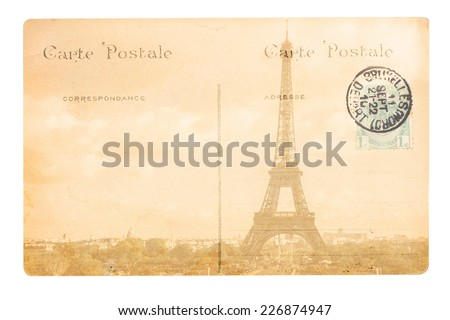old postcard with eiffel tower, Paris, France