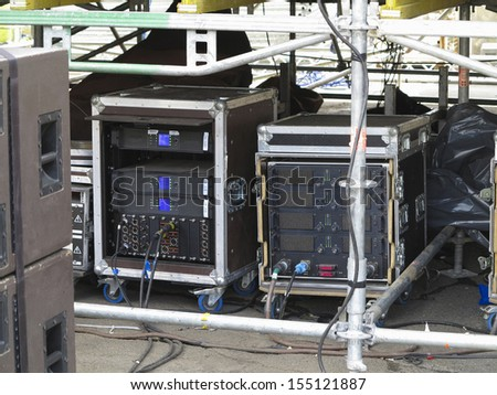 Old powerful industrial concerto audio stage amplifiers, speakers and equipment