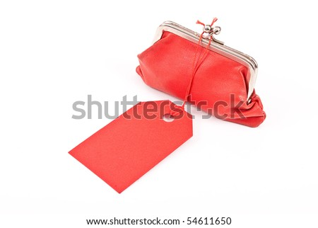 Old red purse  with tag