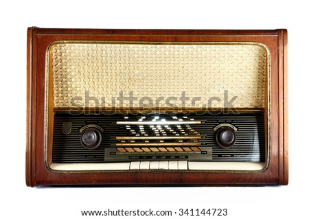 Old, retro, vintage radio, isolated on white background