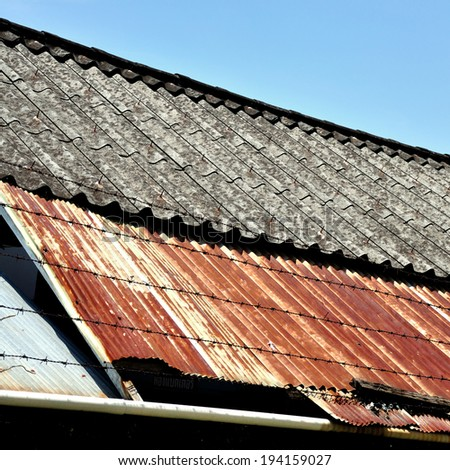 Old Zinc Roof Beautiful Sky Stock Photo 145694123